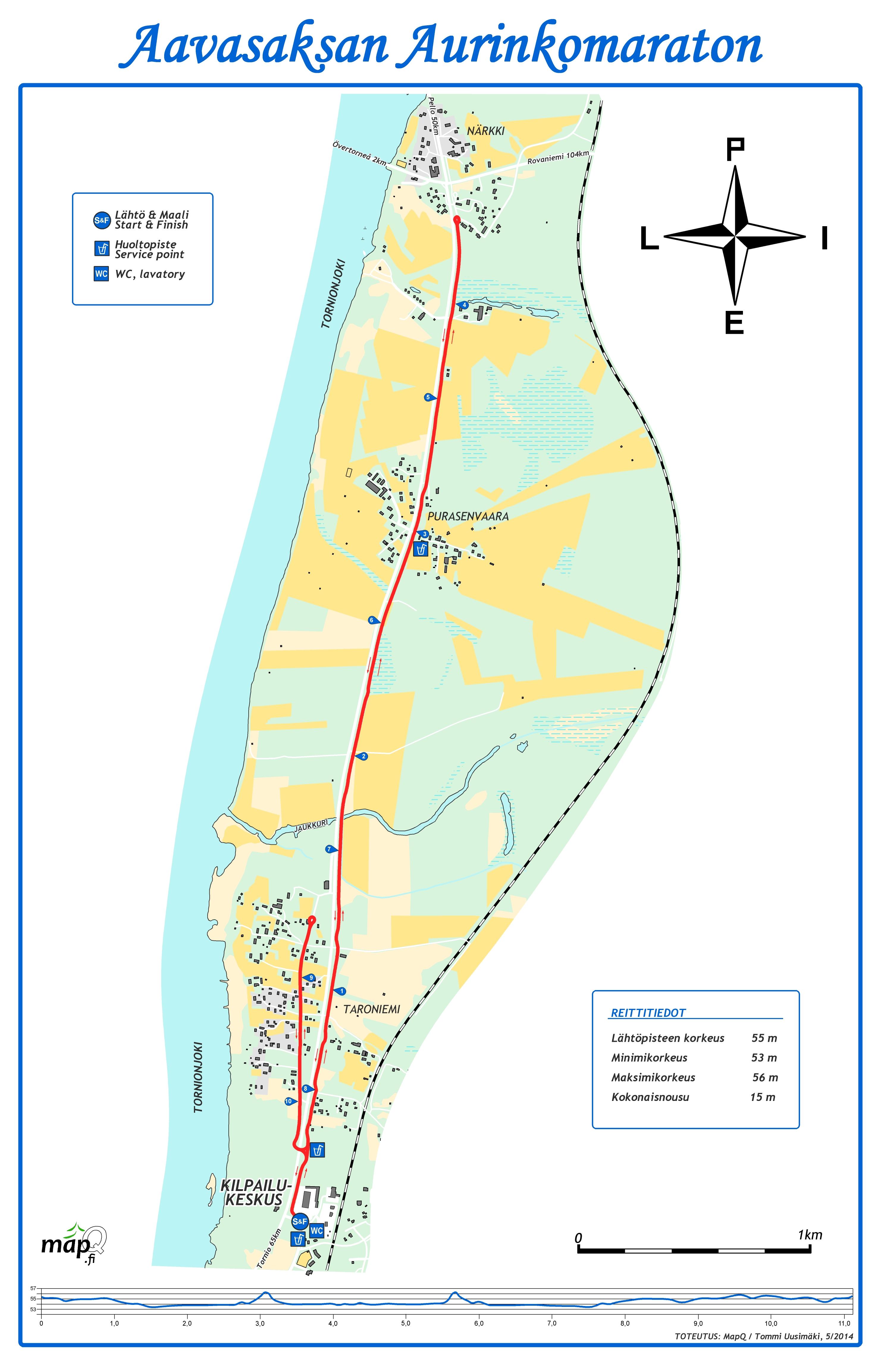 Aurinkomaraton reittikartta 2014